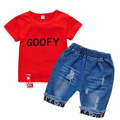 3f805e443c0b1 Çocuklar Genç Erkek Temel Solid Kısa Kollu Polyester Kıyafet Seti Beyaz 120  6701076 2019 – $16.95
