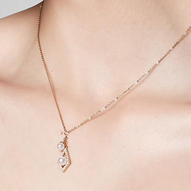 povoljno Modne ogrlice-Žene Geometrijski Ogrlice s privjeskom Lančići 18K pozlaćeni S925 Sterling Silver Poslastica dame Zlato 40 cm Ogrlice Jewelry Za Dnevno Festival