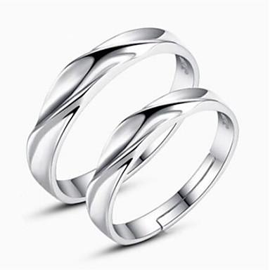 levne Dámské šperky-Pro páry Snubní prsteny Stříbrná Stříbro dámy Jednoduchý Klasické Denní Šperky Vhodný Jeho A Její Twist Circle přátelství