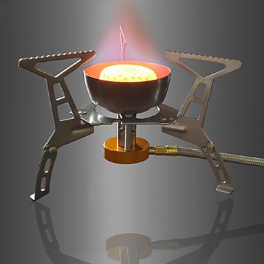 DesertFox® Gassovn til camping Grillutstyr Vindtett Folding til Aluminum Alloy Kobberfarget utendørs Fisking Vandring Camping Sølv