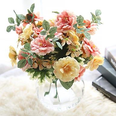 preiswerte Meistverkauft-Künstliche Blumen 1 Ast Simple Style Hochzeitsblumen Rosen Ewige Blumen Tisch-Blumen