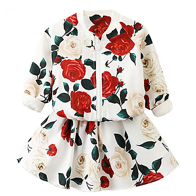 cheap Clearance-Kids Girls' Basic Floral Long Sleeve Cotton Clothing Set White