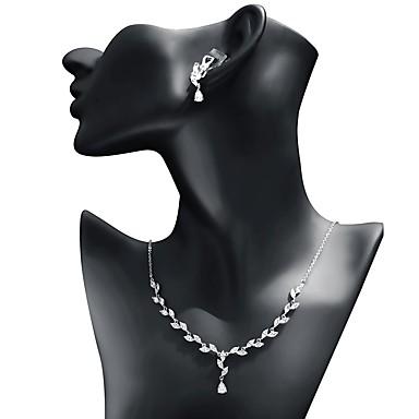 povoljno Oprema za zabavu-Žene Kubični Zirconia Komplet nakita Viseće naušnice Ogrlice s privjeskom Leaf Shape Ispustiti slatko Moda Naušnice Jewelry Obala Za Vjenčanje Dar