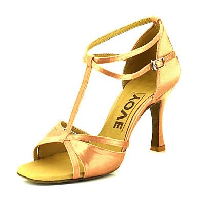 abordables Chaussures de Danse-Femme Chaussures Latines / Chaussures de Salsa Satin Boucle Sandale / Talon Boucle / Ruban Talon Personnalisé Personnalisables Chaussures de danse Bronze / Amande / Chair / Cuir / Professionnel