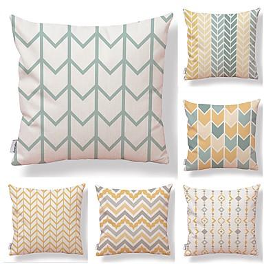 billige Putevar-6 stk Tekstil Bomull / Lin Putevar, Art Deco Linjer / bølger Printer Kvadrat-formet Smuk