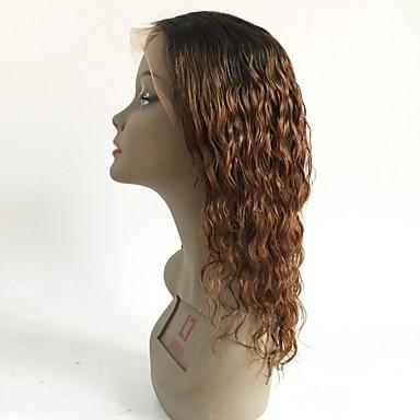 Ubehandlet hår Blonde Forside Parykk Lagvis frisyre Rihanna stil Brasiliansk hår Bølget Rødbrun Parykk 130% Hair Tetthet med baby hår Ombre-hår Mørke røtter Dame Kort Medium Lengde Lang