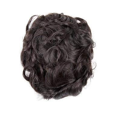 Herre Ekte hår Tupéer Bølget Lugtfri / comfy / 100 % håndknyttet