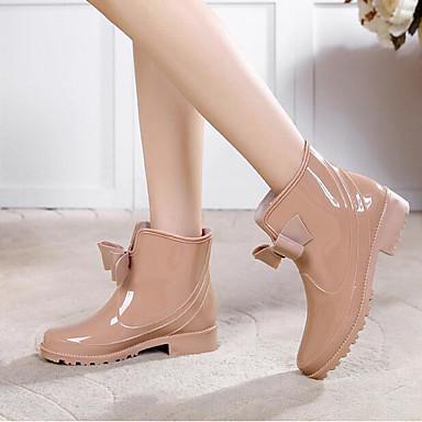 644979e229bc Women s PVC(Polyvinyl chloride) Spring   Summer Rain Boots Boots Flat Heel  Round Toe Mid-Calf Boots Bowknot Black   Wine   Nude 6683971 2019 –  29.99