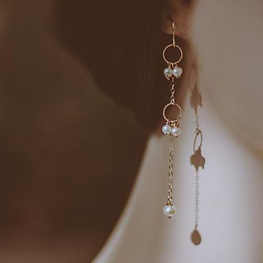 preiswerte Ohrringe-Damen Süßwasserperle Tropfen-Ohrringe Einfach Modisch vergoldet Süßwasserperle Ohrringe Schmuck Weiß Für Alltag Verabredung