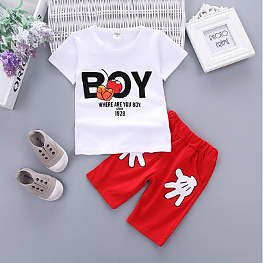 cheap Boys' Clothing Sets-Toddler Boys' Active Print Solid Colored Short Sleeve Clothing Set White