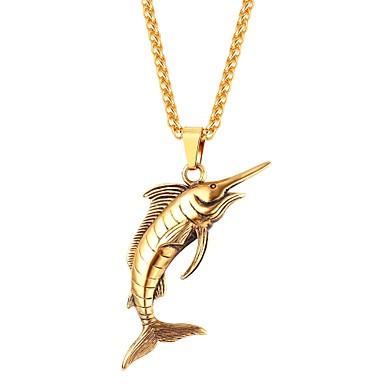 voordelige Herensieraden-Hangertjes ketting Vissen Dier Modieus Roestvast staal Goud Zwart Zilver 55 cm Kettingen Sieraden Voor Dagelijks