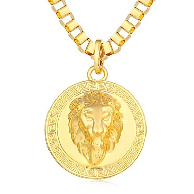 cheap Pendant Necklaces-Pendant Necklace Cool Steampunk Hip Hop 18K Gold Plated Alloy Black Gold Silver 80 cm Necklace Jewelry For Daily Street