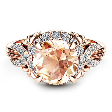 cheap Simulated Diamond Rings-Women's Engagement Ring Citrine Synthetic Diamond Champagne Cubic Zirconia Rose Gold Plated 18K Rose Gold Plated Circle Geometric Ladies Classic Holiday Wedding Party Jewelry Solitaire Round Cut Halo