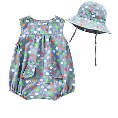 preiswerte Einteiler für kleine Mädchen-Baby Mädchen Grundlegend Punkt Ärmellos Baumwolle Einzelteil Blau