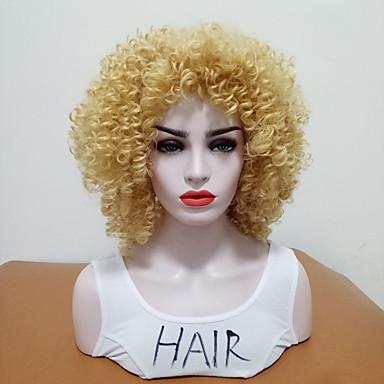 19 99 Synthetische Perucken Locken Stil Seitenteil Kappenlos Perucke Blond Blond Synthetische Haare Damen Hitze Resistent Mit Pony Blond