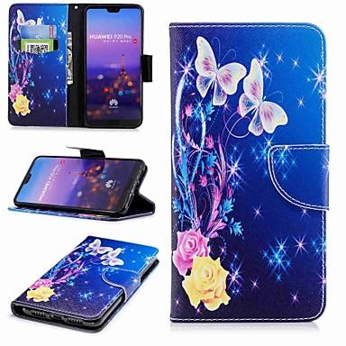 Etui Til Huawei Huawei P20 / Huawei P20 Pro / Huawei P20 lite Lommebok / Kortholder / med stativ Heldekkende etui Sommerfugl Hard PU Leather / P10 Lite / P10
