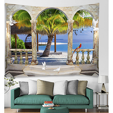 cheap Wall Tapestries-Window Landscape Wall Tapestry Art Decor Blanket Curtain Picnic Tablecloth Hanging Home Bedroom Living Room Dorm Decoration Polyester Sea Ocean Beach Palm Animal