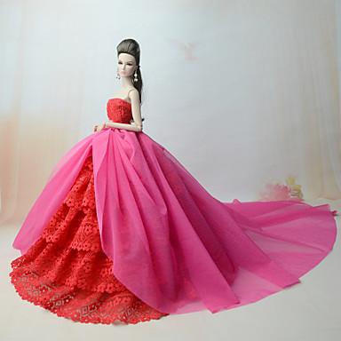 levne Doplňky pro panenky-Šaty pro panenky Party / Večírek Pro Barbie Vlnky Vícebarevný Krajka Fuchsiová Polybavlna Krajka Šaty Pro Dívka je Doll Toy