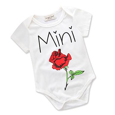 preiswerte Einteiler für kleine Mädchen-Baby Mädchen Aktiv / Grundlegend Alltag Blumen / Druck Blumig / Geblühmter Style / Druck Kurze Ärmel Baumwolle Body Weiß