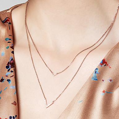 povoljno Modne ogrlice-Žene Više slojeva Lančići 18K pozlaćeni S925 Sterling Silver Poslastica dame Rose Gold 40 cm Ogrlice Jewelry Za Dnevno Festival
