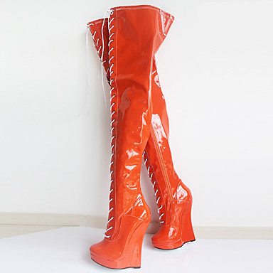 a1070aa3570 Women s PU(Polyurethane) Fall   Winter Novelty   Fashion Boots Boots Wedge  Heel Round Toe Over The Knee Boots Black   Orange   Party   Evening 6694901  2019 ...