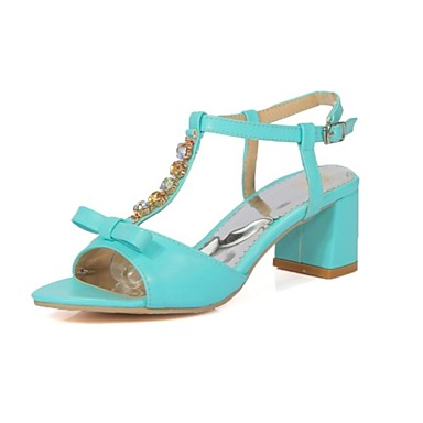 Mujer Zapatos Semicuero Verano Confort Sandalias Tacón Cuadrado Puntera abierta Blanco / Azul / Rosa / Fiesta y Noche YHZEUpN6f