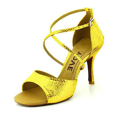 povoljno Odjeća i obuća za ples-Žene Plesne cipele Eko koža Cipele za latino plesove / Cipele za salsu Kopča / Ukrasna trakica Sandale / Štikle Potpetica po mjeri Moguće personalizirati Crvena / Plava / Zlatan / Koža / EU41