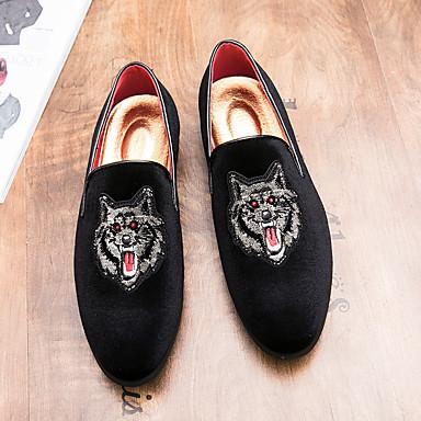 ราคาถูก Clearance-สำหรับผู้ชาย รองเท้าอย่างเป็นทางการ หนังนิ่ม ตก รองเท้าส้นเตี้ยทำมาจากหนังและรองเท้าสวมแบบไม่มีเชือก สีดำ / แดง