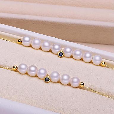 levne Dámské šperky-Dámské Kubický zirkon Sladkovodní perla Řetězové & Ploché Náramky Jednoduchý Sladký Módní Nerez Náramek šperky Modrá Pro Párty Jdeme ven / S925 Sterling Silver