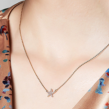 povoljno Modne ogrlice-Žene Ogrlice s privjeskom 18K pozlaćeni S925 Sterling Silver morska zvijezda Poslastica dame Zlato 40 cm Ogrlice Jewelry Za Dnevno Spoj
