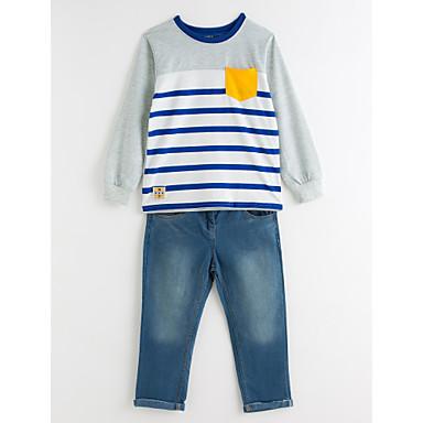 povoljno Odjeća za dječake-Djeca Dječaci Na prugice Svečana odjeća Dungi Print Dugih rukava Regularna Normalne dužine Pamuk Komplet odjeće Plava