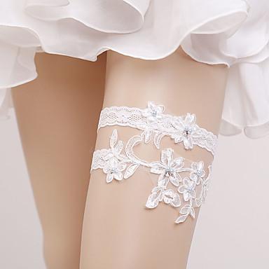 Blonder Vintage Stil Bryllupsklær Med Perle / Strikk Strømpebånd Bryllup / Fest / aften