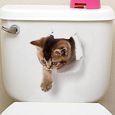 billige Hjemme Dekor-Køleskabs klistermærker Toilet klistermærker - Animal Wall Stickers Dyr 3D Stue Soverom Baderom Kjøkken Spisestue Leserom / Kontor