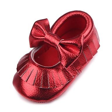 preiswerte Schuhe für Kinder-Mädchen Komfort / Lauflern / Kinderbett Schuhe Kunstleder Flache Schuhe Kleinkind (9m-4ys) Quaste Gold / Weiß / Rot Herbst / Hochzeit / Hochzeit