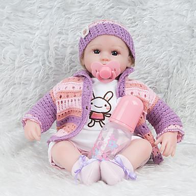 NPKCOLLECTION NPK DOLL Reborn-dukker 18 tommers Silikon - Newborn liv som Nuttet Barnesikker Ikke Giftig Håndhåndterte øyenvipper Barne Jente Leketøy Gave