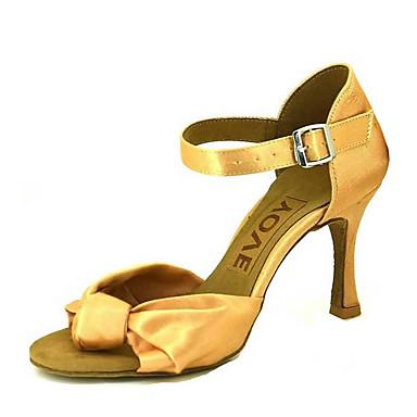 2050f514 Mujer Zapatos de Baile Latino / Zapatos de Salsa Satén Sandalia / Tacones  Alto Hebilla / Corbata de Lazo Tacón Personalizado Personalizables Zapatos  de ...