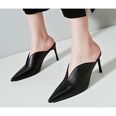 Mujer Zapatos Cuero de Napa Primavera Confort / Pump Básico Zuecos y pantuflas Tacón Cono Negro / Beige Astz8