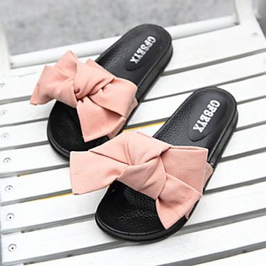 preiswerte Pantoffeln-Damenhausschuhe Gleithausschuhe Ordinär / Geometrisches Muster Nubukleder Schleife Schuhe