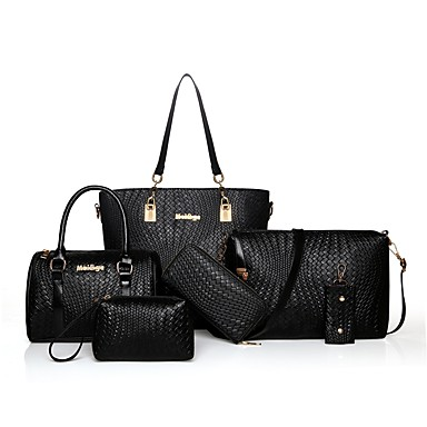 cheap Bag Sets-Women's Zipper PU(Polyurethane) Bag Set Bag Sets 6 Pieces Purse Set Fuchsia / Red / Blue