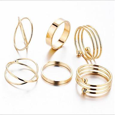 Dame Band Ring Ring Set Midiringe 6pcs Gull Metall Legering Sirkelformet Geometrisk Form damer Vintage Fest Ferie Smykker Elefant