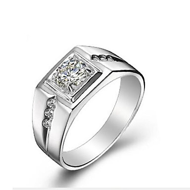cheap Rings-Men's Band Ring Cubic Zirconia Silver S925 Sterling Silver Classic Fashion Daily Ceremony Jewelry
