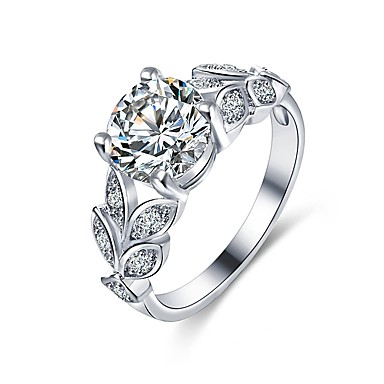billige Motering-Dame Band Ring Micro Pave Ring Diamant Kubisk Zirkonium liten diamant Sølv Kobber Uregelmessig damer Klassisk Mote Bryllup Engasjement Smykker Blad Formet Snøfnugg