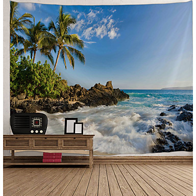 cheap Wall Tapestries-Wall Tapestry Art Decor Blanket Curtain Picnic Tablecloth Hanging Home Bedroom Living Room Dorm Decoration Landscape Sea Ocean Beach Coconut Tree