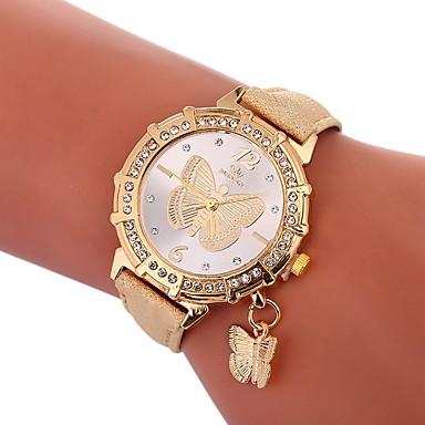 levne Dámské-Xu™ Dámské Hodinky k šatům Náramkové hodinky Diamond Watch Křemenný Z umělé kůže Černá / Bílá / Modrá kreativita Hodinky na běžné nošení Půvab Analogové dámy Motýl Módní - Zelená Modrá Zlatá Jeden