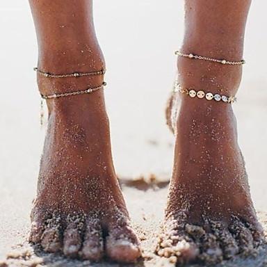 Dame fotlenke Multi Layer Kubansk Link Dråpe damer Enkel Koreansk Ankel Smykker Gull / Sølv Til Gave Daglig Gate