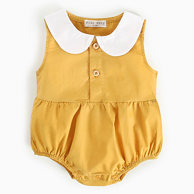 Baby Jente Aktiv Ensfarget Ermeløs Bomull Body Gul