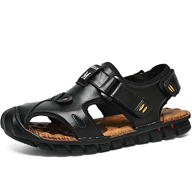 ราคาถูก Clearance-สำหรับผู้ชาย รองเท้าสบาย ๆ หนัง ฤดูร้อน รองเท้าแตะ วสำหรับเดิน ลายบล็อคสี สีดำ / สีน้ำตาลอ่อน / น้ำตาลเข้ม / คำขวัญ / กลางแจ้ง