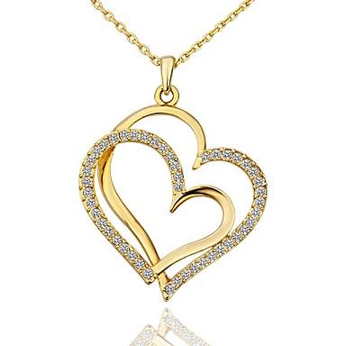 povoljno Modne ogrlice-Žene Kubični Zirconia mali dijamant Ogrlice s privjeskom Majka kći Srce dame Moda Pozlaćeni Zlato Obala Rose Gold 45+5 cm Ogrlice Jewelry 1pc Za Dar Dnevno