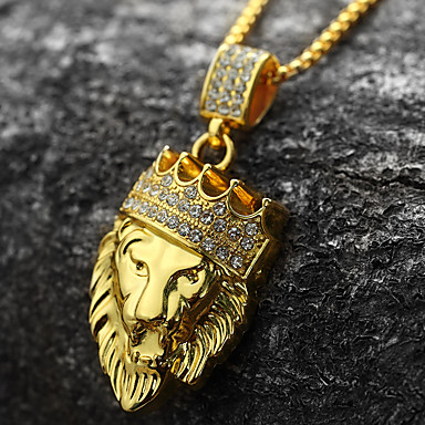 cheap Pendant Necklaces-Men's Cubic Zirconia Pendant Necklace Engraved franco chain Lion King Crown Personalized Rock Hip-Hop Dubai 18K Gold Plated Yellow Gold Imitation Diamond Gold Golden Lion 2 Golden Lion 3 Golden Lion