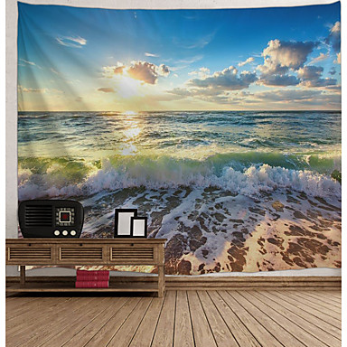 cheap Wall Tapestries-Wall Tapestry Art Decor Blanket Curtain Picnic Tablecloth Hanging Home Bedroom Living Room Dorm Decoration Landscape Sea Ocean Beach Wave Rosy Cloud